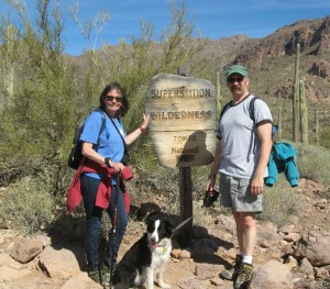 Chuck, Molly and I in front of the forest service sign