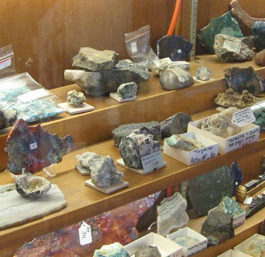 Rock and gem display case at Pickle Barrel Trading Post