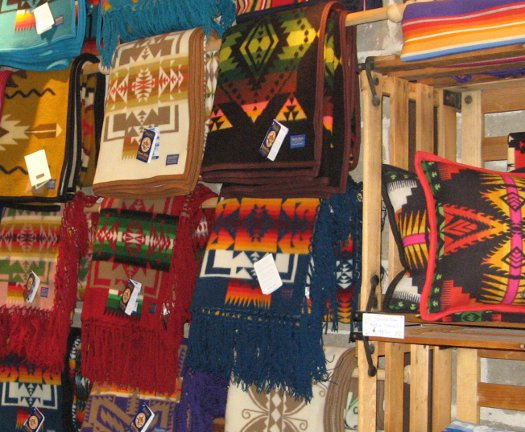 Pendleton blankets and pillows at Pickle Barrel Trading Post