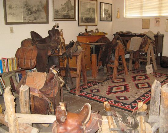The memorial studio holds other memorabilia such as George Phippen's saddles, books and tools