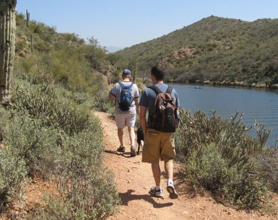 Doug and Chuck start off on the Butcher Jones Trail at Saguaro Lake